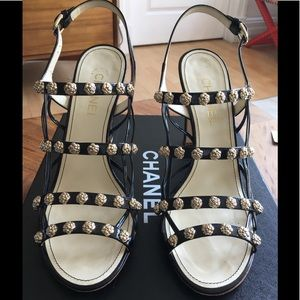 Chanel Patent Leather Camellia Heels